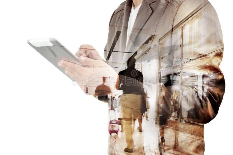 Dubbele blootstelling van de Bedrijfsmens en Luchthaventerminal met Mensen royalty-vrije stock foto's