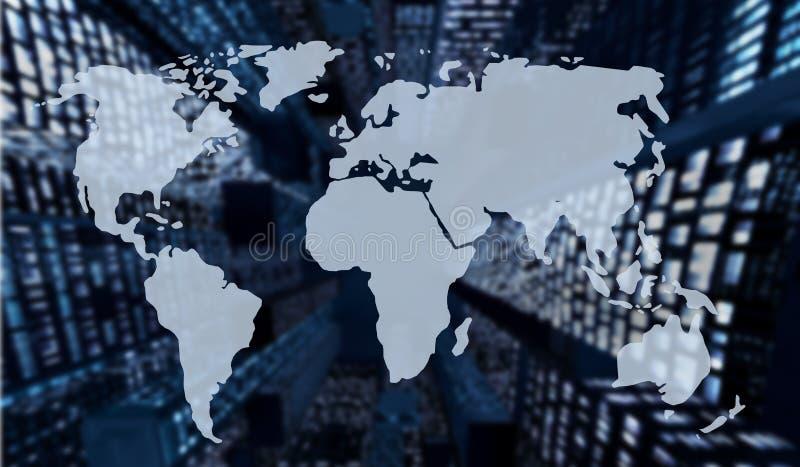 Dubbele blootstelling van de wereldkaart en de onscherpe nachtwolkenkrabbers royalty-vrije illustratie