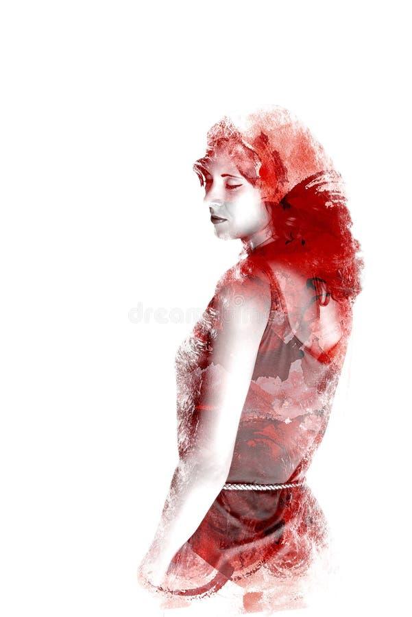 Dubbele blootstelling van een jong mooi meisje Geschilderd portret van een vrouwelijk gezicht Multicolored beeld op witte achterg stock illustratie