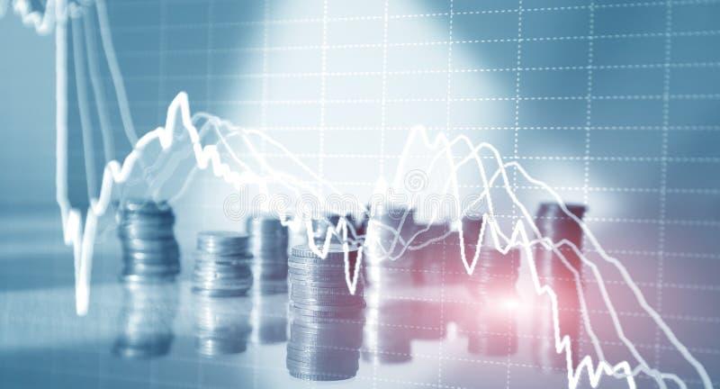 Dubbele blootstelling van financiële grafiekgrafiek en rijen van muntstukken voor financiën en bedrijfsconcept vector illustratie