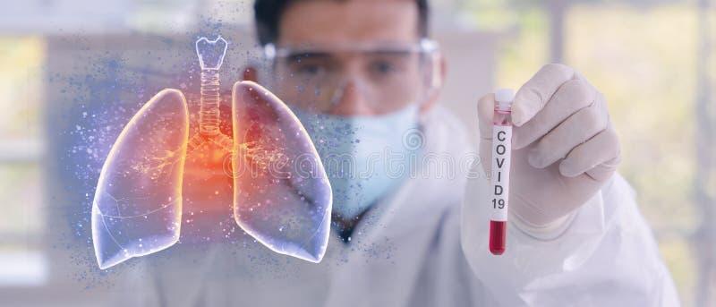 Dubbele blootstelling van het met coronavirus besmette bloedmonster in de buis van het monster in de hand van een wetenschapper m royalty-vrije stock afbeeldingen