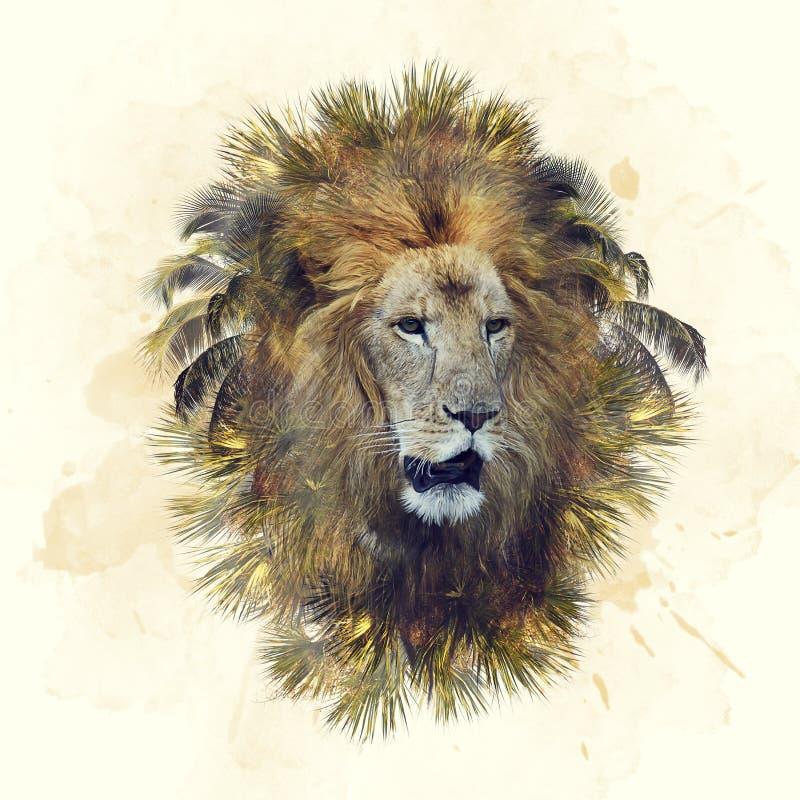 Dubbele blootstelling van leeuwhoofd en palmen royalty-vrije stock foto
