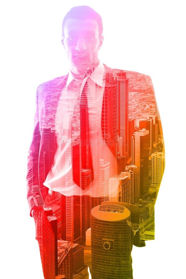 Dubbele blootstelling van zakenman en stad royalty-vrije stock fotografie