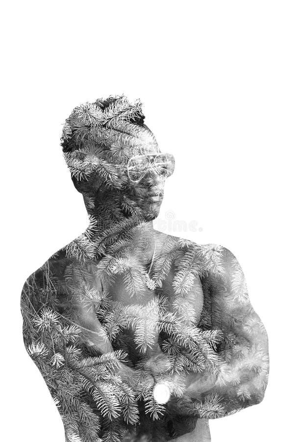 Dubbele blootstellingsmens in glazen met naakt die torso op een witte achtergrond wordt geïsoleerd De de kunstillustratie van de  royalty-vrije stock foto
