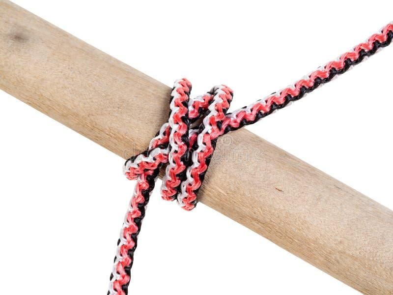 Dubbele constrictor knoop die op synthetische kabel wordt gebonden stock afbeeldingen