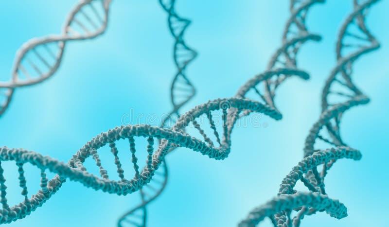 Dubbele de schroefmolecules van DNA op blauwe achtergrond 3D teruggegeven illustratie vector illustratie
