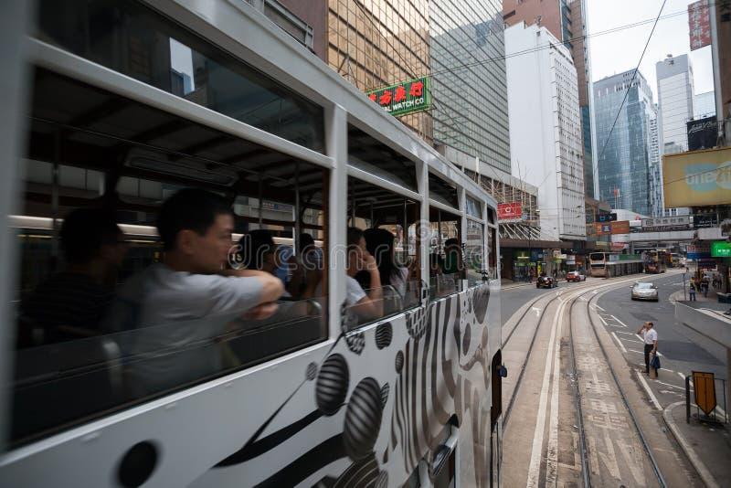 Dubbele dektrams in de straten van Hong Kong royalty-vrije stock foto's