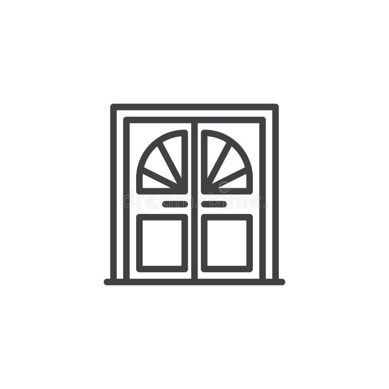 Dubbele deur met het overzichtspictogram van het glasvenster stock illustratie