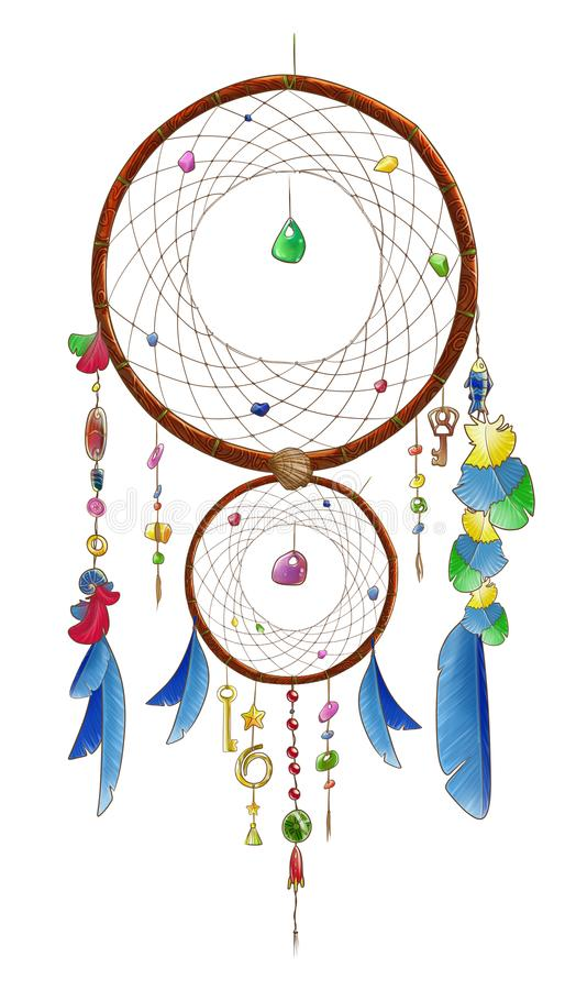 Dubbele dreamcatcher met blauwe veren royalty-vrije illustratie