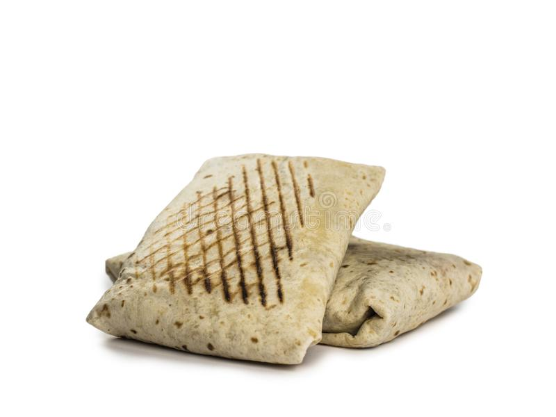 Dubbele Franse Taco's met alpha- Achtergrond stock afbeelding