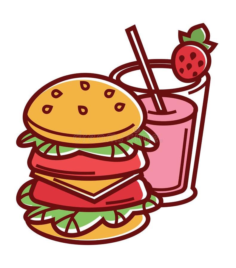 Dubbele hamburger en aardbeimilkshake in glas royalty-vrije illustratie