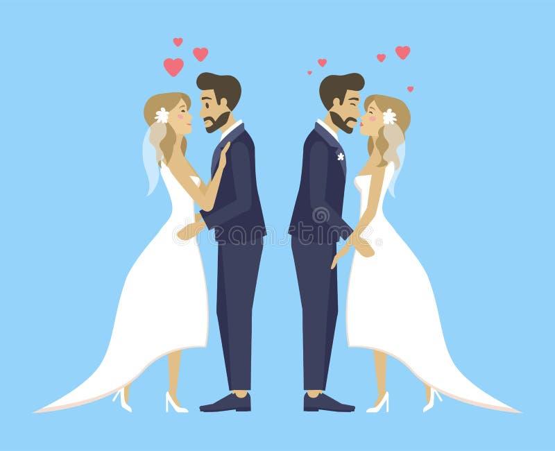 Dubbele Huwelijksbruid en Bruidegom Kissing en het Koesteren royalty-vrije illustratie