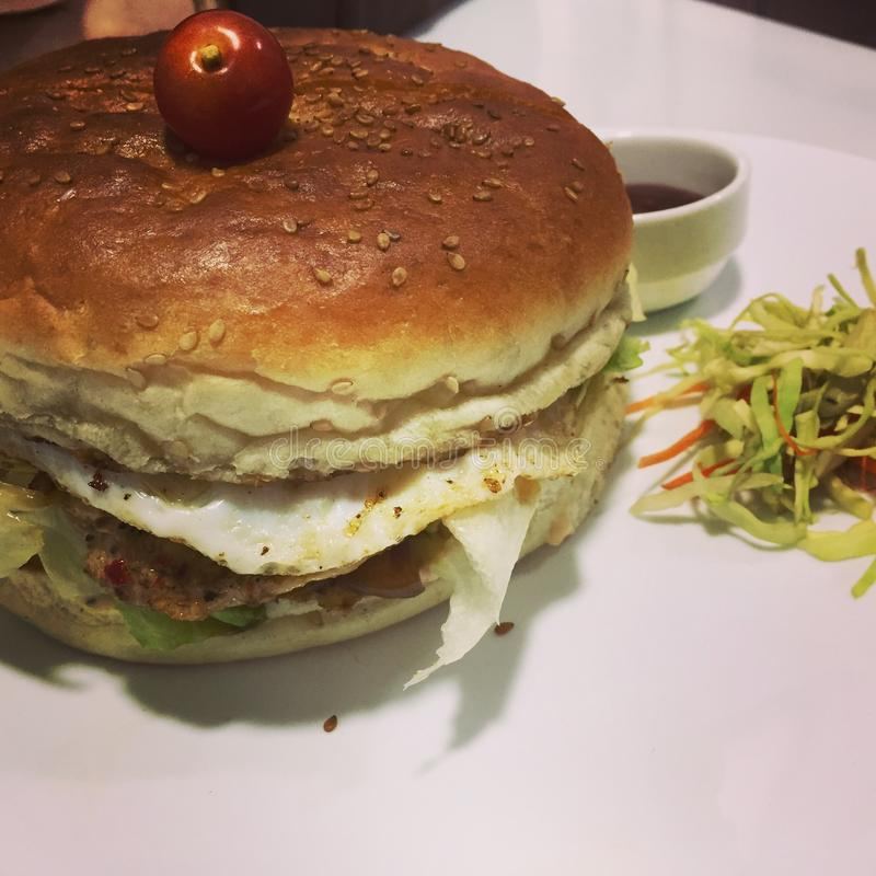Dubbele kippenhamburger stock foto
