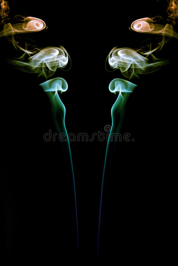 Dubbele kleurrijke rook stock afbeeldingen