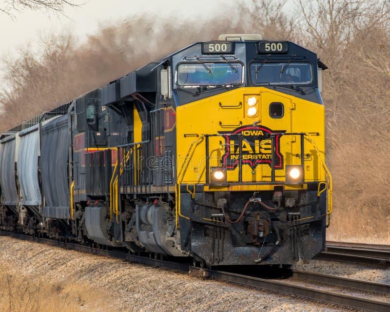 Dubbele kopbal trekt de Tusen staten van Iowa vracht stock foto's