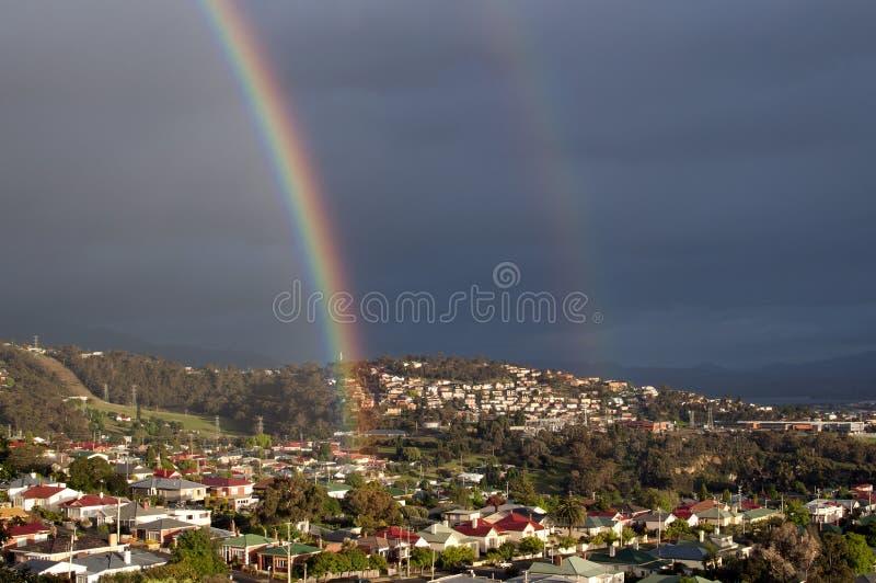 Dubbele regenboog royalty-vrije stock afbeelding
