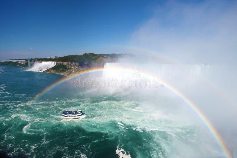 Dubbele regenboog in Niagara dalingen Canada royalty-vrije stock foto's