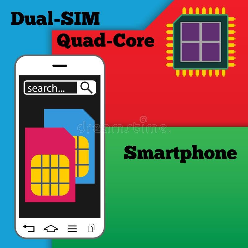 Dubbele SIM-smartphone met vierling-kern bewerker vector illustratie