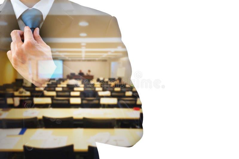 Dubbele van de blootstellingszakenman en conferentie ruimte royalty-vrije stock foto