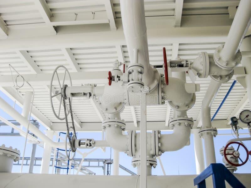 Dubbele veiligheidsklep op het drukvat Raffinaderijmateriaal stock fotografie