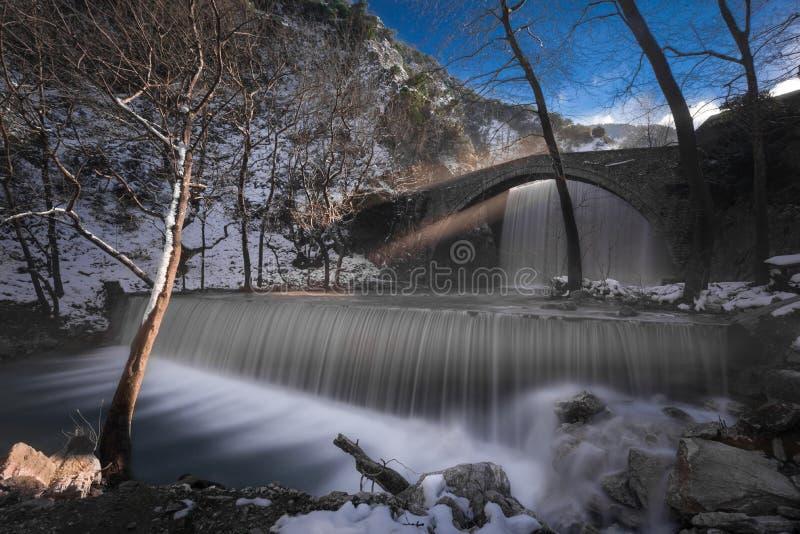 Dubbele waterval in Palaiokaria, Griekenland stock foto's