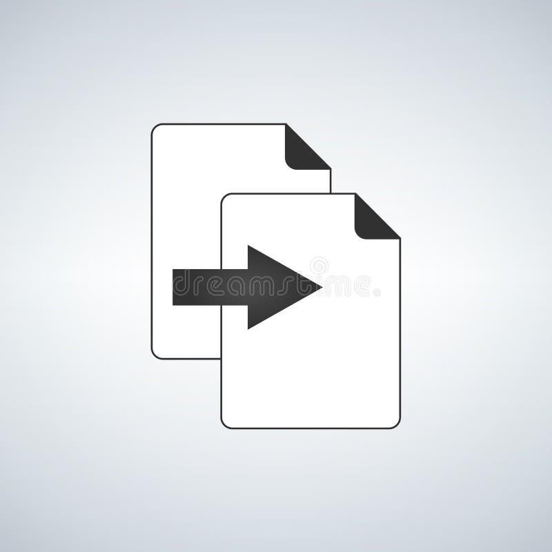 Dubbelklon- eller kopieringsmappsymbol med pilsymbolsbegrepp Plan och isolerad symbol för vektoreps-illustration med minsta och m stock illustrationer