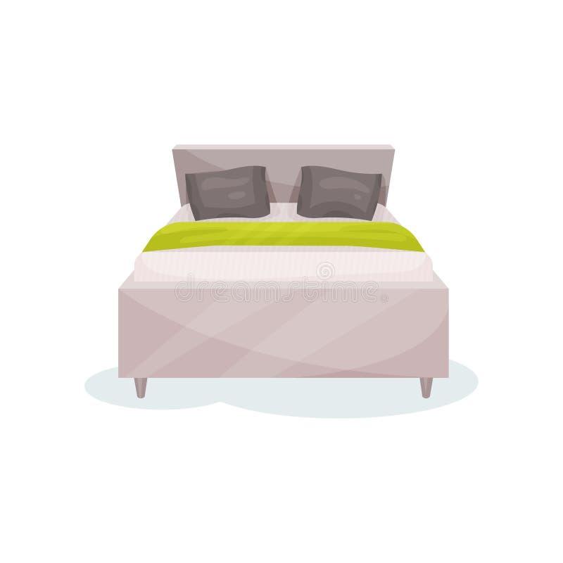 Dubbelsäng sovrummöblemang, illustration för vektor för beståndsdel för inredesign på en vit bakgrund vektor illustrationer