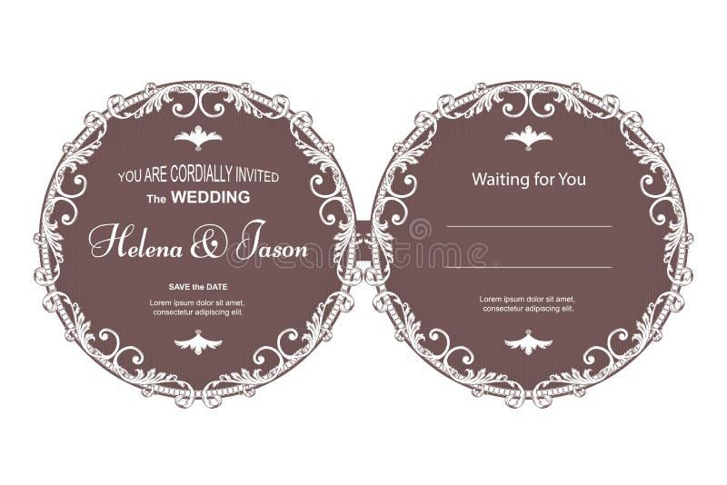 Dubbelsidig vykort för elegant tappningrunda för inbjudan till bröllopet, brunt med en filtermodell Prydnaden göras i V vektor illustrationer