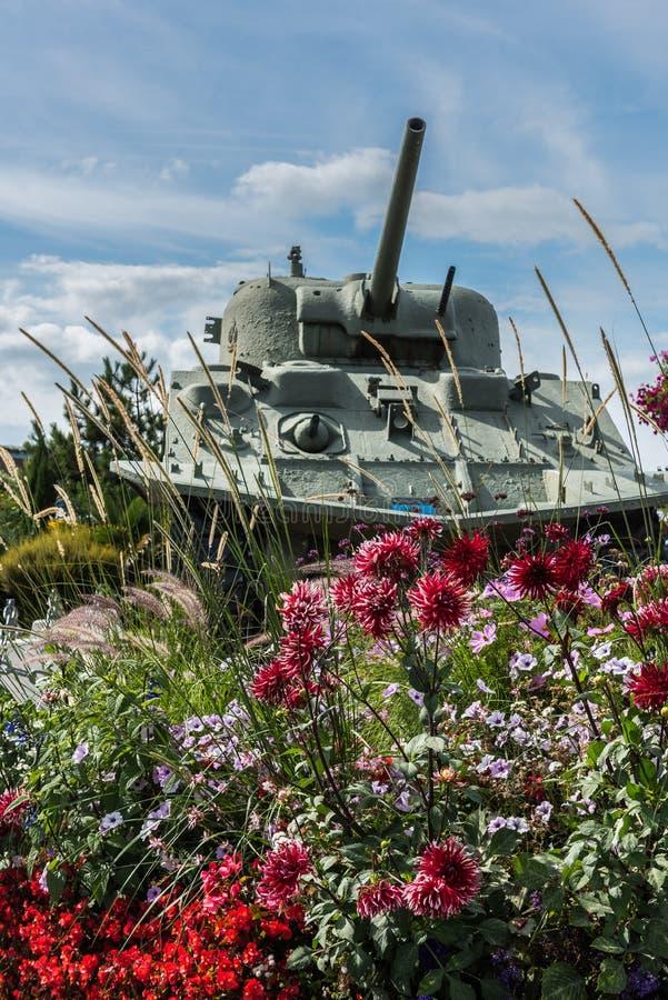 Dubbelsidigt drev Sherman Tank, Juno Beach arkivfoton