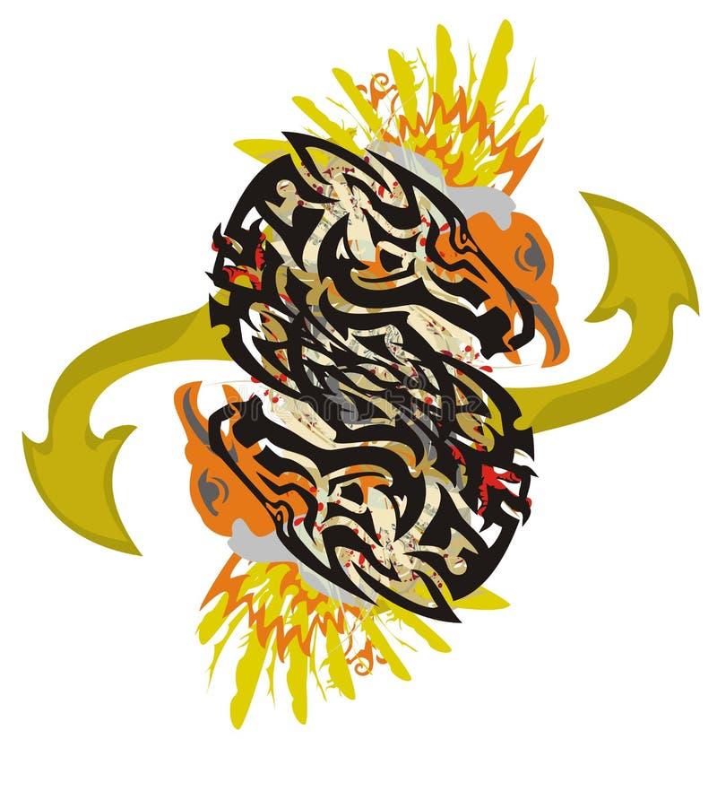 Dubbelt hästsymbol för Grunge med pilar stock illustrationer
