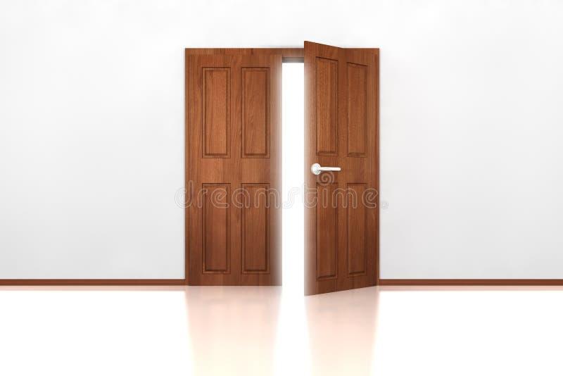 dubbelt halvöppet för dörr royaltyfri illustrationer