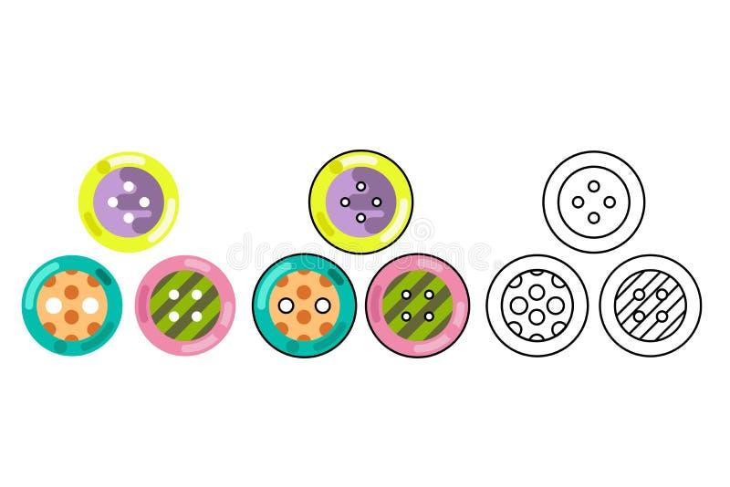 Dubben för knapphantverkhjälpmedlet syr för symbolsvektorn för torkduken den plana designen isolerade illustrationen royaltyfri illustrationer