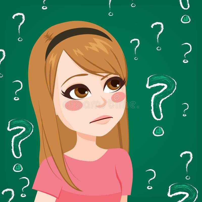 Dubbio della ragazza dell'adolescente illustrazione vettoriale