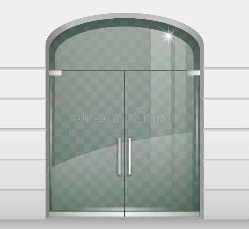 Dubbla dörrar av exponeringsglas royaltyfri illustrationer