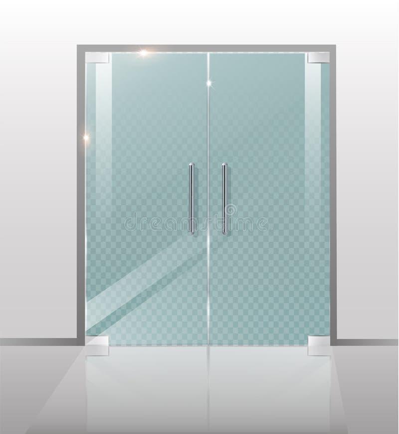 Dubbla glass dörrar till gallerian eller kontoret royaltyfri illustrationer