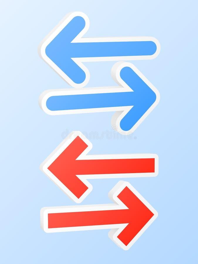 Dubbla pilsymboler vektor illustrationer