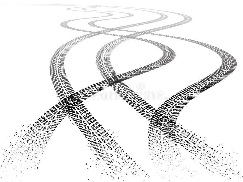 Dubbla spår för vektorGrungegummihjul stock illustrationer
