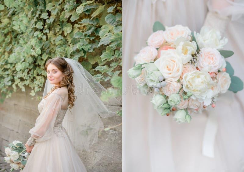 Dubblerad bild av den nätta gammalmodiga bruden med pastellfärgad bouque arkivbilder