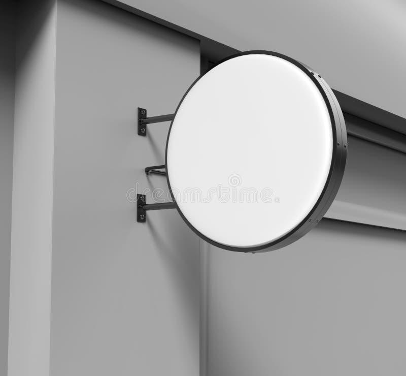 Dubblett sid det tillbaka tända runda brädet för signagen, det ledde glödadvertizingbrädet, vinylföretagstecken på tegelstenvägge royaltyfri illustrationer