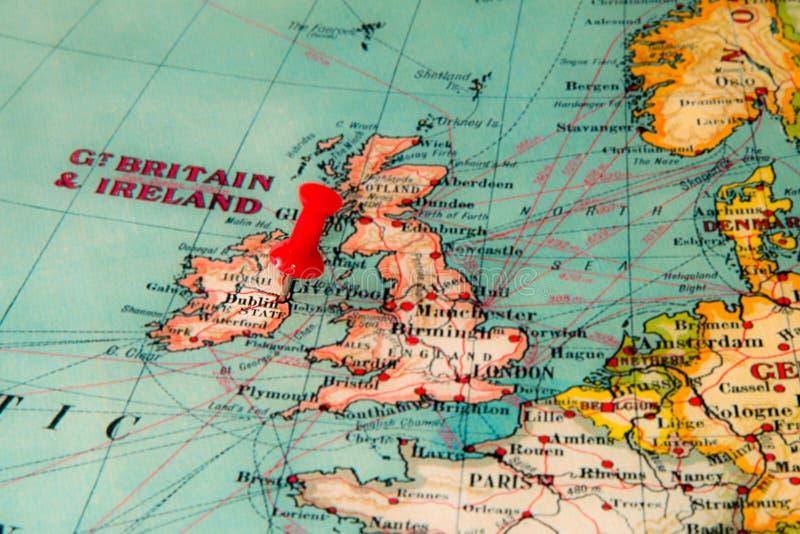 Dublín, Irlanda fijó en el mapa del vintage de Europa fotografía de archivo libre de regalías
