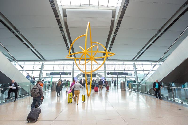 Dublin Airport`s Terminal Two. Dublin, Ireland - May 8th, 2018: The new Terminal 2 at Dublin Airport in Ireland stock photography