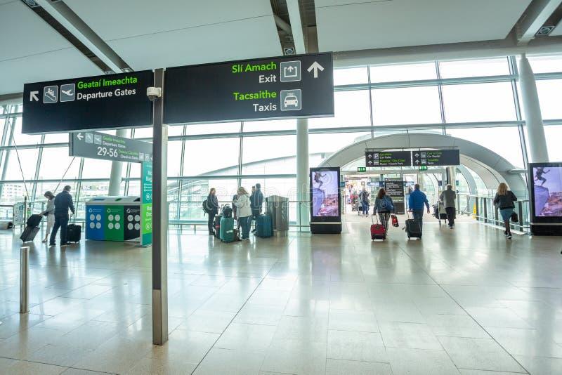 Dublin Airport`s Terminal Two. Dublin, Ireland - May 8th, 2018: The new Terminal 2 at Dublin Airport in Ireland stock photos
