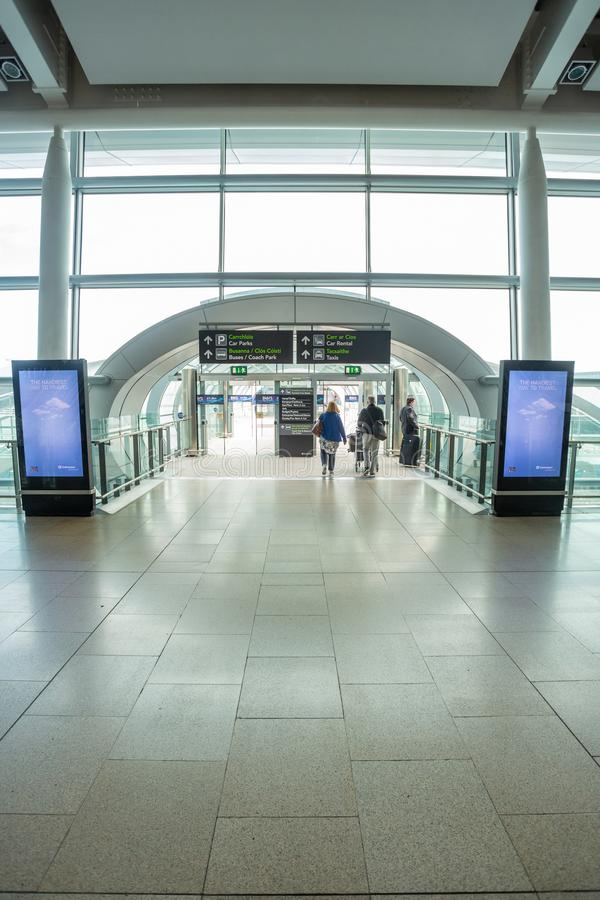 Dublin Airport`s Terminal Two. Dublin, Ireland - May 8th, 2018: The new Terminal 2 at Dublin Airport in Ireland stock image