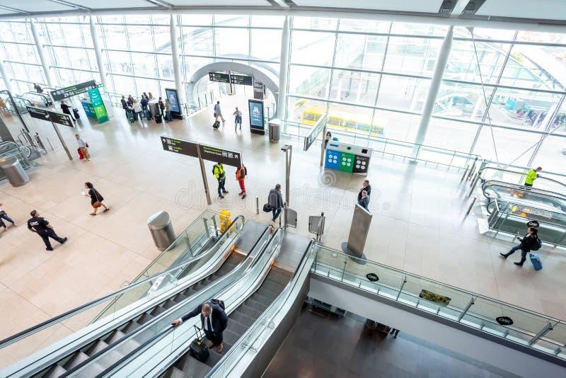 Dublin Airport`s Terminal Two. Dublin, Ireland - May 8th, 2018: The new Terminal 2 at Dublin Airport in Ireland royalty free stock image