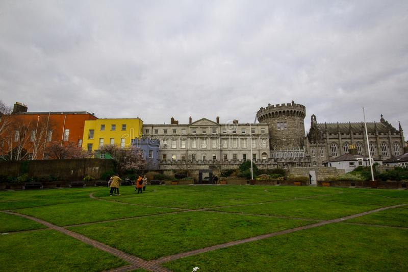 Dublin Castle av Dame Street, Dublin, Irland arkivfoton