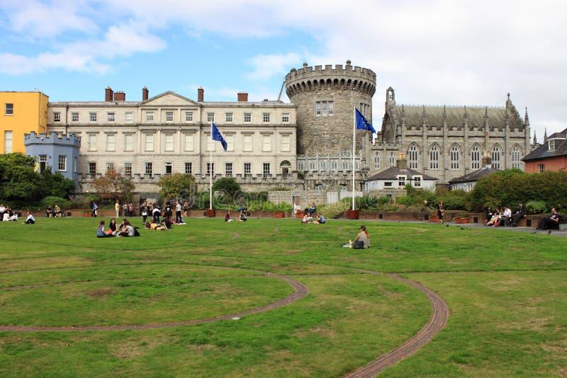 Dublin castle. DUBLIN, IRELAND - SEPTEMBER 6, 2016: Landscape view of the Dublin castle on September 6, 2016 stock photo