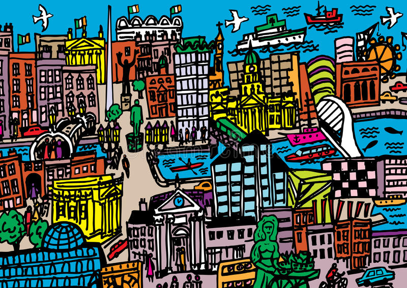 Dublin City vector illustratie