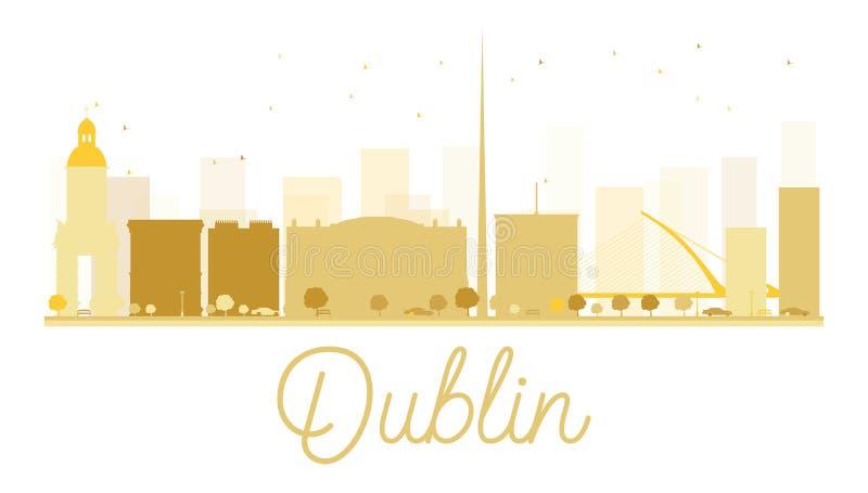Dublin City-horizon gouden silhouet royalty-vrije illustratie