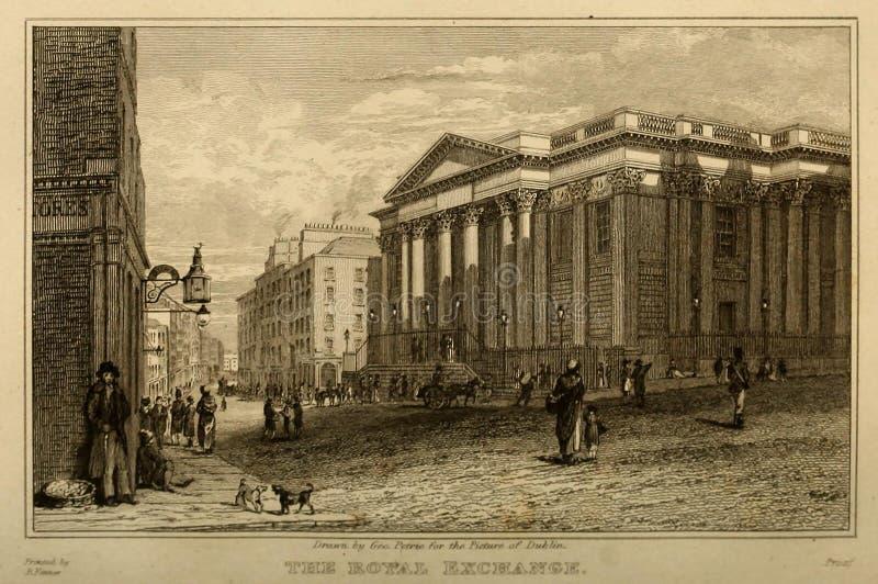Dublin City Ilustra??o da gravura ilustração stock