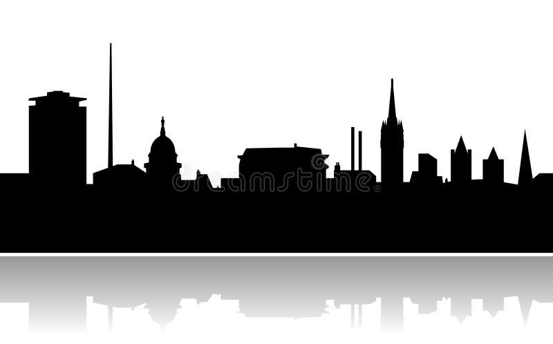 Dublin city skyline vector. Vectored illustration as silhouette of capital of ireland, dublin, with most famous landmarks as the dublin spire